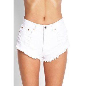 Forever 21 Cut Off Slant Denim Shorts Cream